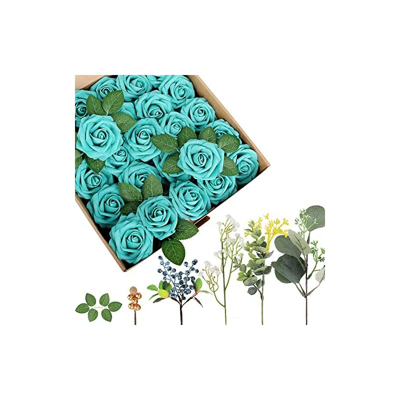 silk flower arrangements appok artificial flowers for valentine's day flowers foam rose - teal fake roses real looking flower combo with stem for diy wedding bouquets, centerpieces, party, baby shower, home decorations