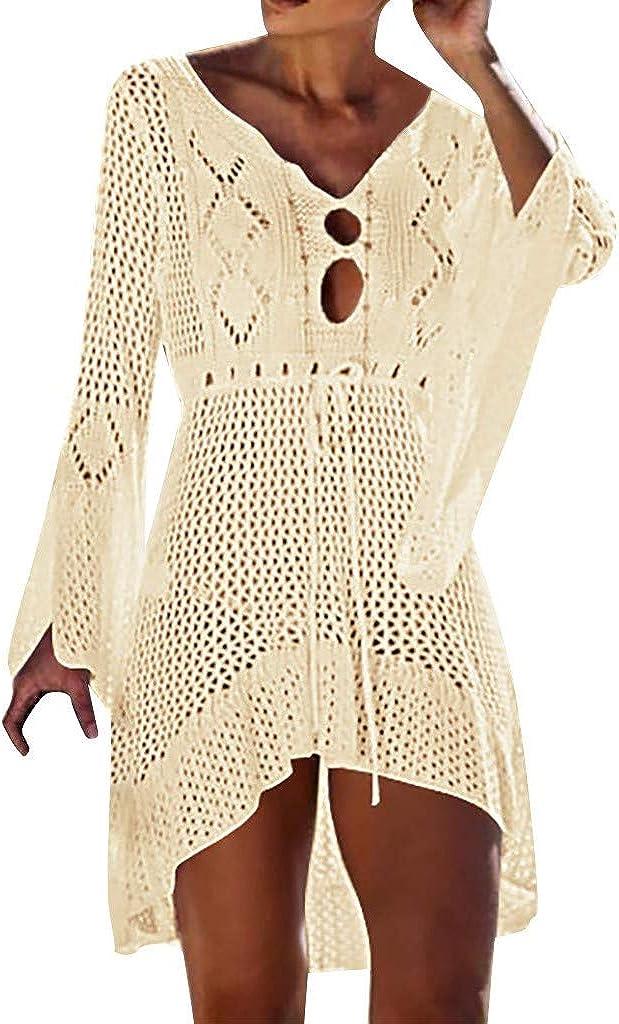 SSYUNO Womens Crochet Tassel Swimsuit Bikini Swimwear Beach Cover Up Net Sexy V-Neck Mini Dress