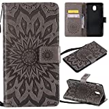 SMYTU Galalxy J7 2018 Wallet Case, Premium Emboss Sunflower Pattern Flip Wallet Shell PU Leather Magnetic Cover Skin with Wrist Strap Case Samsung Galalxy J7 2018 (Grey)