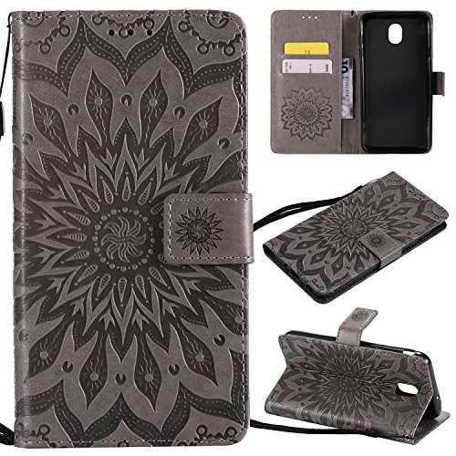 Cmeka 3D Sunflower Wallet Case for Samsung Galaxy J7 2018/J7 Aero/J7 Star/J7 Top/J7 Crown/J7 Aura/J7 Refine/J7 Eon Flip Leather Protective Magnetic Card Slots Kickstand Case Gray