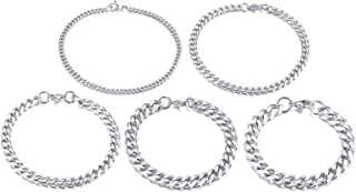 TempBeau Stainless Steel Basic Curb Cuban Link Chain Bracelets for Men Women Wristband Jewelry,Black/18K Gold Plated,Nicke...