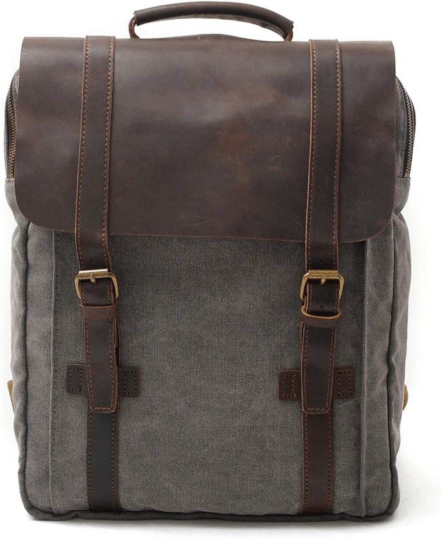 JenLn Herren Canvas Rucksack passt 15 Laptop Bookbag für Schule Kurze Wanderung Reisen Daypack im Freien Herren Rucksack Business Casual Rucksack Geeignet für Menschen, die Freizeit mgen