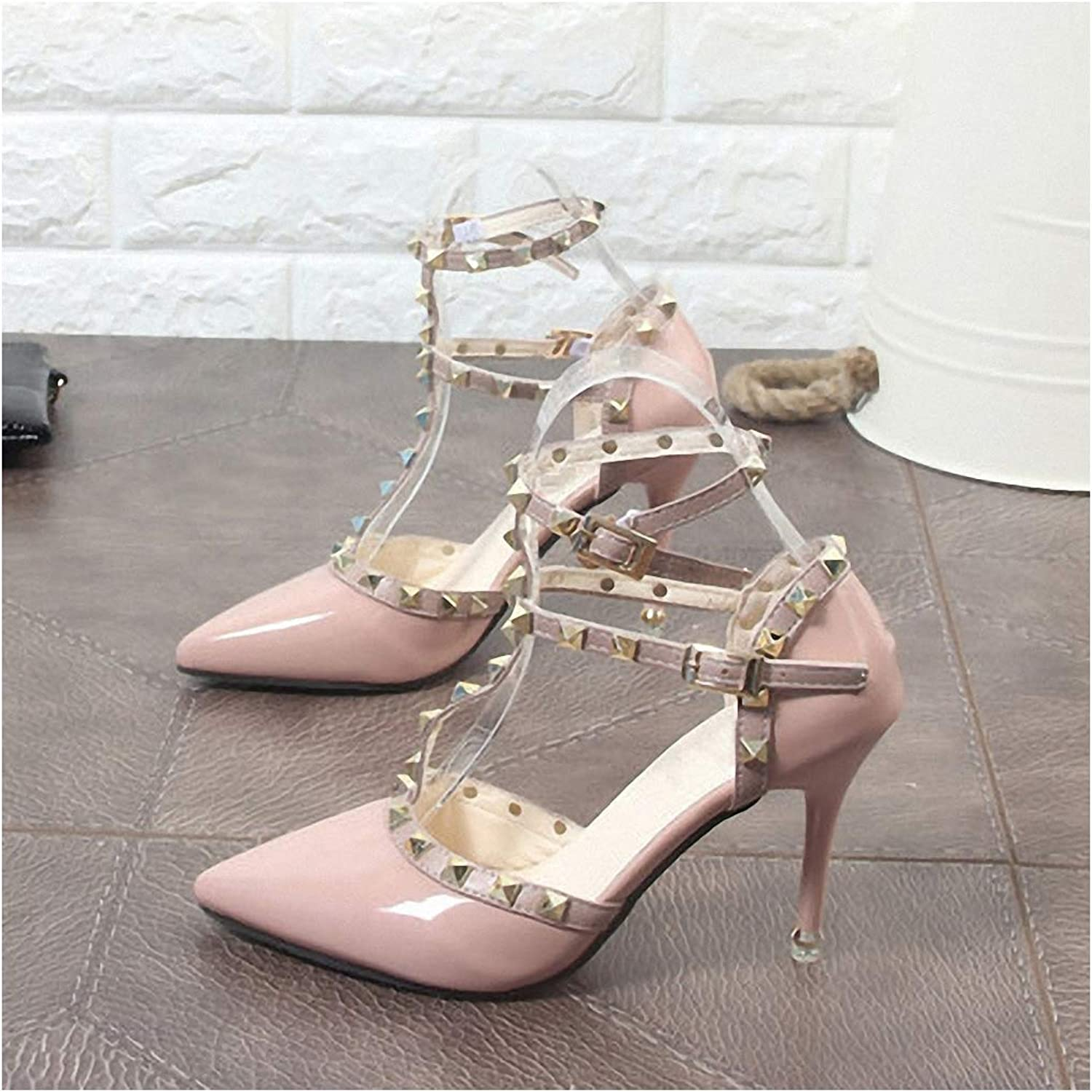 Womens High-Heeled Pumps shoes Sexy Hasp Heels Female Rivet High Heel Leather Pumps Woman 9cm Needle Heel shoes in Hollow Point Ventilation Rivet shoes