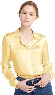 94fe90e97 LilySilk Women s 100 Silk Blouse Long Sleeve Lady Shirt 22 Momme Charmeuse  Silk