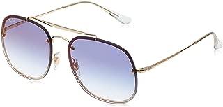 Ray-Ban Steel Unisex Non-Polarized Iridium Square Sunglasses, Copper, 58 mm