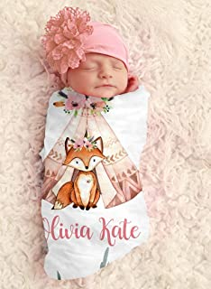 Baby Girl Fox in Tee Pee Personalized Baby Blanket Personalized Swaddle Blanket Baby Girl Receiving Blanket Monogram