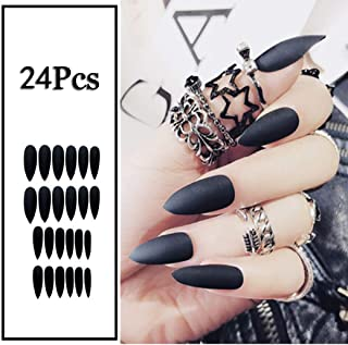 Sethexy 24Pcs Solid Color Matte Sharp False Nails Frosted Fashion Stiletto Full Cover Long Acrylic Claw Fake Nails for Women and Girls (Black)
