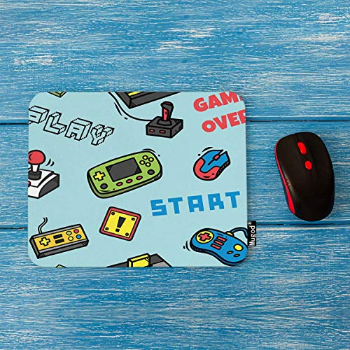 Mugod Gamer Devices Mouse Pad Video Game Backdrop Button Cartridge Controller Design Decor Gaming Mouse Pad Rectangle Non-Slip Rubber Mousepad for Computers Laptop 7.9x9.5 Inches