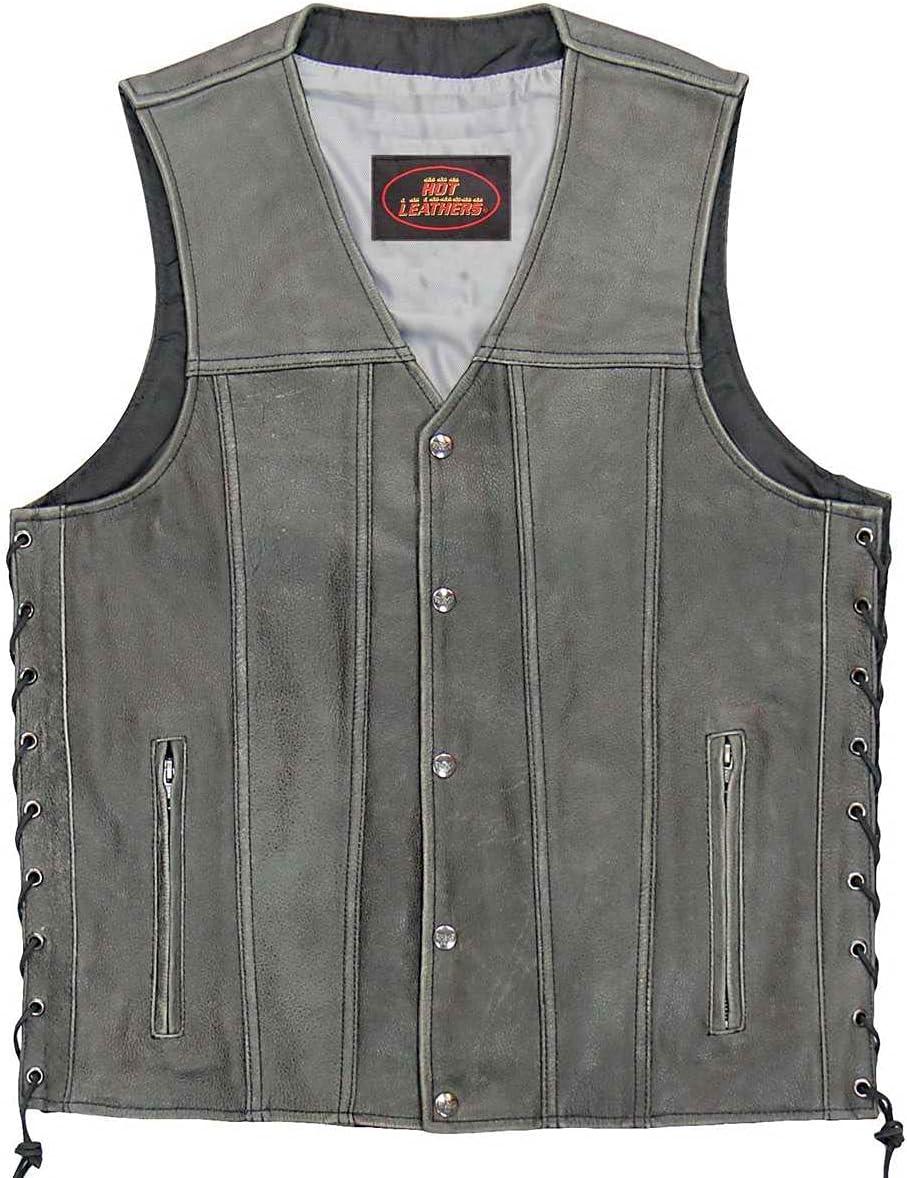 Hot Leathers VSM1041 Men's Rub-Off Grey 'Side Lace' Club Leather Vest - Large