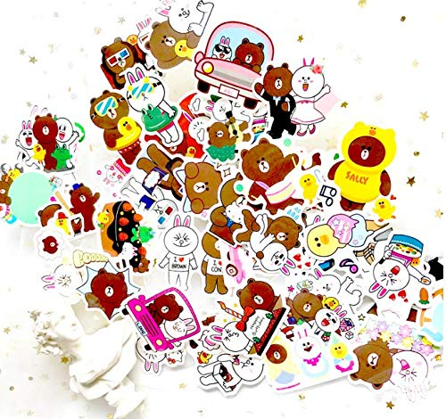Brown Bear Keni Rabbit Hand Account Sticker Cute Korean Diary Hand Account Stickers Diary Material Hand Account Waterproof Stickers 45 Sheets