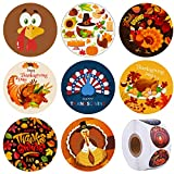 Elcoho 600 Pieces Thanksgiving Party Stickers Funny Turkey Design Stickers Decals Fall Thanks Roll...