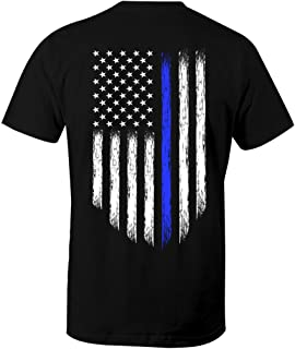 Fantastic Tees Thin Blue Line USA Flag Patriotic Police Support Men's T Shirt