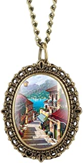 YXZQ Pocket Watch, Little Oval Beautiful Town Scene Pattern Quartz Retro Fashion Necklace Pendant Clock Hour as Sweater Chain Jewelry