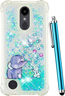 CAIYUNL LG Aristo 2 Case/Aristo 2 Plus/LG Tribute Dynasty/Zone 4/Fortune 2/K8 2018/K8 Plus/Risio 3/Rebel 3,Liquid Glitter Bling Sparkle Shockproof Protective Clear Cover Women Girls Kids-Blue Elephant