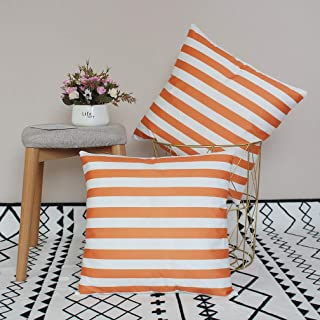 U-LOVE 2Pack Orange&White Striped Pillow Covers Modern Simple Throw Pillowcases Home Decorative Cushion Covers 18×18 inch,Super Soft for Bed/Couch/Sofa/Car(Orange Striped)