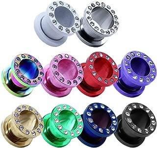 piercing faux ecarteur vis clous boucles d'oreille acier316l//acrylique noir