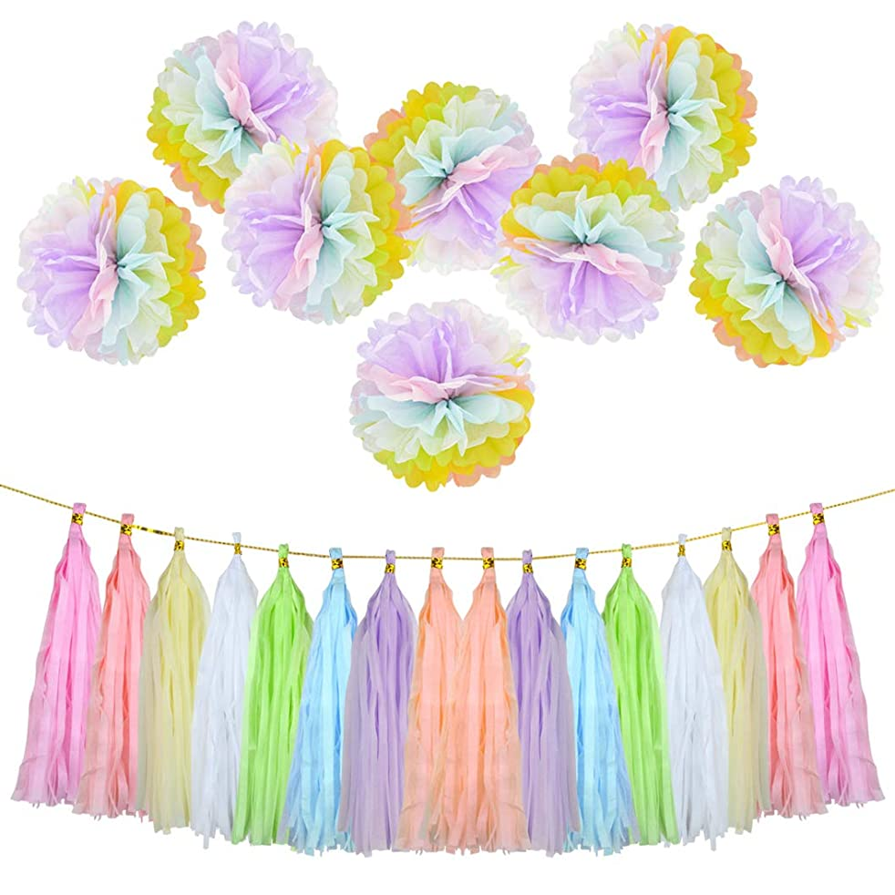 24 Pcs Paper Flowers Tissue Tassel Paper Garland Kit Party Supplies Decorations Kit for Wedding,Party, Birthday,Baby Shower, Room Decor