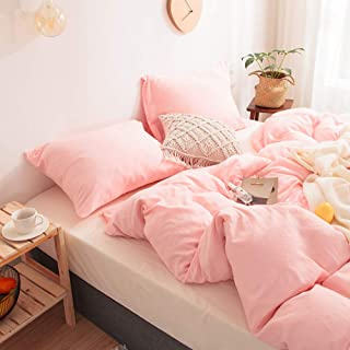 MOVE OVER 3 Pieces Pink Bedding Light Pink/Peach Duvet Cover Set Soft 100% Washed Microfiber Quilt Cover Pink Girls Bedding Sets Queen 1 Duvet Cover 2 Pillowcases (Queen, Pink/Peach)