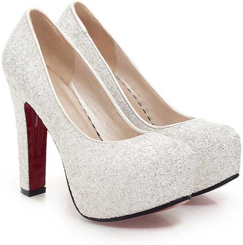 Wanson Frauen High Heels PU Pailletten Sexy Mode Mode Mode Runde Zehe Chunky Heel Schuhe Braut Hochzeit Schuhe Pumps Weiß Absatzhöhe 12Cm,S  63b2b5