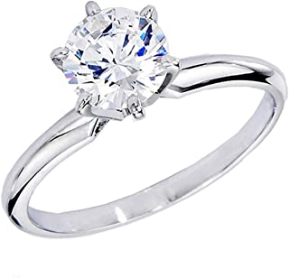 Dazzlingrock Collection IGI CERTIFIED 1.00 Carat (ctw) 14K Round Lab Grown White VVS clarity Diamond Bridal Solitaire Rin...