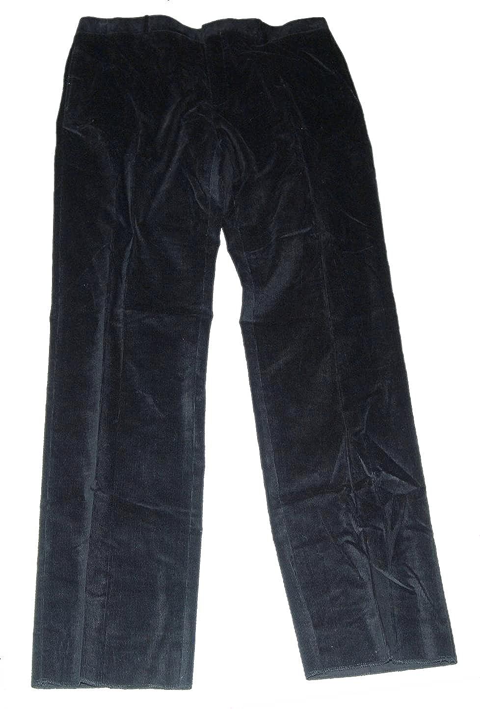 Ralph Lauren Polo Mens Flat Front Corduroy Cotton Black Dress Pants Italy 32R $395