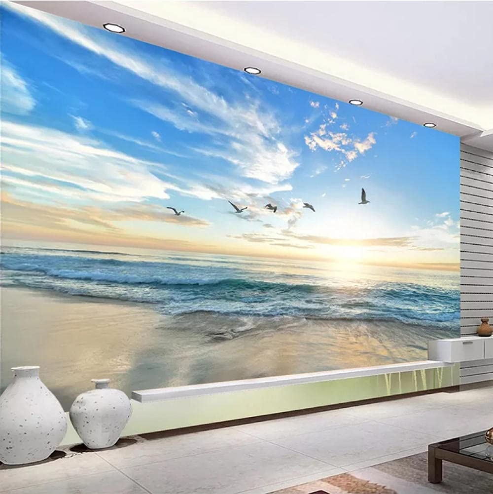 N\A Custom Murals Popularity 3D Cave Stone Painting Sea Wall View Beach Al sold out. Cre
