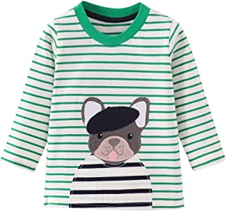 HUAER& Baby Boys Cotton Long Sleeve T Shirt Cartoon Dog Dinosaur Rocket Print Tops