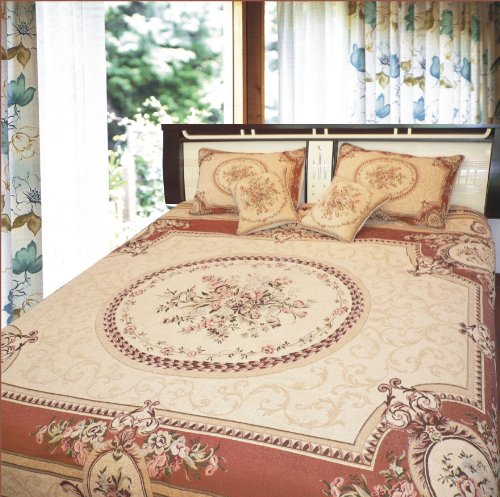 DaDa Bedding YFJF-D-001-4 3-Piece Elegant Chenille Woven Bedspread, Twin, Orange/Brown