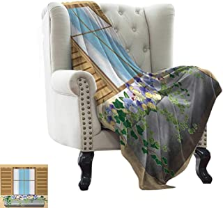 BelleAckerman Couch Blanket Country,Window Shutters with Colorful Flowers and Plants Medieval Style Image Decorative Print,Multi Lightweight Breathable Flannel Fabric,Machine Washable 60