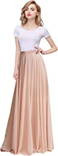 Honey Qiao Chiffon Maxi Skirt Bridesmaid Dresses Long High Waist Floor/Ankle Length Elastic Woman Dresses with Belt