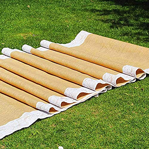 """AAYU Premium burlap aisle Runner with lace - 50 ft x 40 inches ,5"""" Ivory-white Lace ribbon attached wedding Burlap Roll 