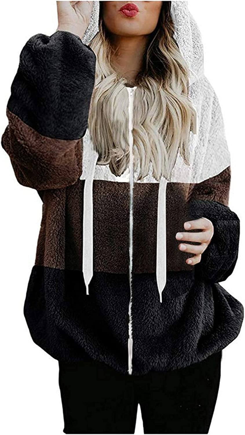 AODONG Womens Hoodiess Oversized Color Block Double Fuzzy Warm Casual Pullover Hooded Sweatshirt Outwear with Pockets