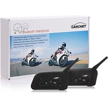 CARCHET 2x Motorrad Gegensprechanlage Bluetooth Motorrad Intercom 1200m wasserdicht Sprechanlage Helm Headset max. 6 Reiter für Motorrad-Fahren, Skifahren usw