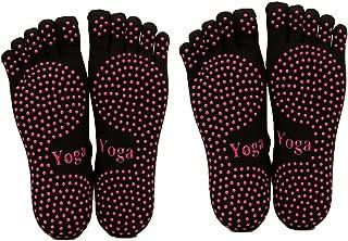 ThreeH Yoga Socks Non-slips Five-fingers for Women Yoga Pilates Dance Ballet 2 Pairs Size4.5-7