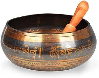 ROSENICE Tazón tibetano cantando Meditación del yoga Om Mani con el mazo (color de cobre amarillo)