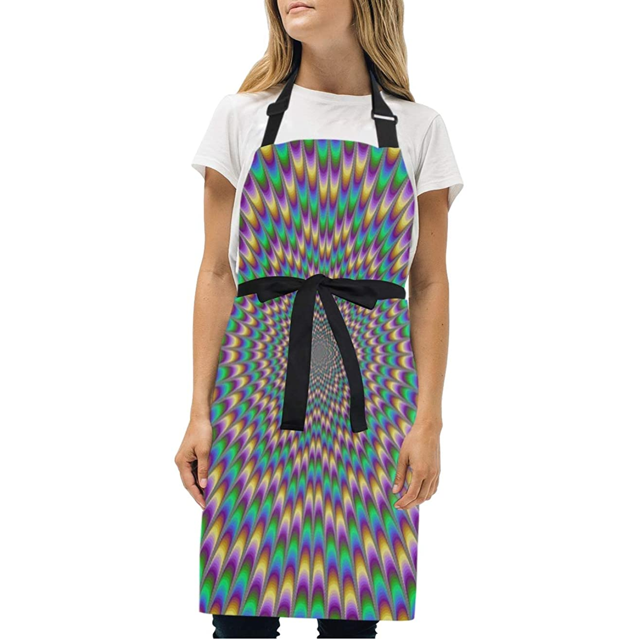 HJudge Womens Aprons Colorful Trippy Rainbow? Kitchen Bib Aprons with Pockets Adjustable Buckle on Neck