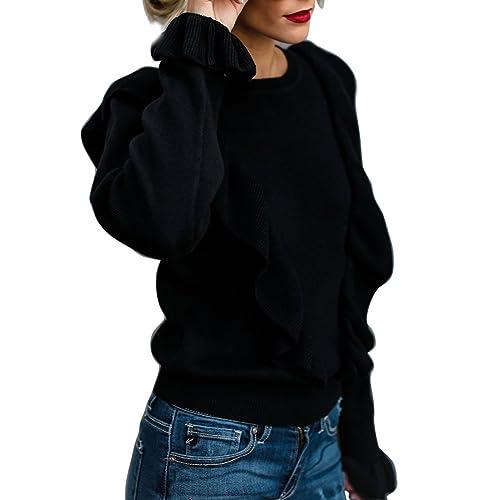 605d42fc375a1 Annystore Womens Ruffle Sweater Crew Neck Knitted Puff Long Sleeve Sweater Crop  Tops Black XL
