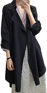 neveraway Women's Roll-Up Sleeve Lightweight Top Coat Windproof Solid Trench