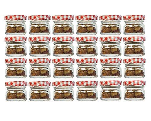 Juego de 30tarros vasos, Capacidad 30ml, tapa color rojo cuadrícula | to 43redondo miel mermelada Conservas Conservas Mostaza, miel, vasos,, Mucha Conservas (Cristal, Set Vasos, Apicultor