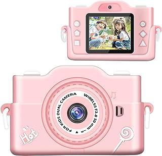 子供カメラ 【2021最新版】 子ども用デジタルカメラ 7000万画素 8倍デジタルズーム HD録画 タイマー撮影 自撮り機能付き HD画質 操作簡単 32GBメモリーカード付き USB充電 子供プレゼント 年齢制限6+ (pink)