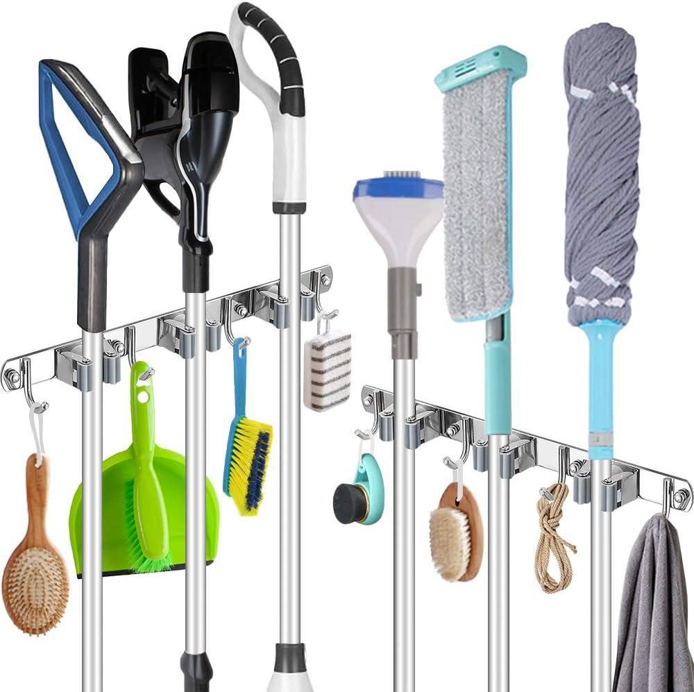 1 Pack Broom Holder Wall Mount Stainless Steel Mop Broom Rack Self Adhesive Heavy Duty Tools Hanger with 3 Racks 4 Hooks