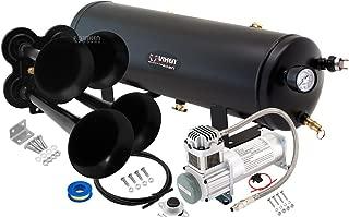 Vixen Horns Train Horn Kit for Trucks/Car/Semi. Complete Onboard System- 200psi Air Compressor, 3 Gallon Tank, 4 Trumpets. Super Loud dB. Fits Vehicles Like Pickup/Jeep/RV/SUV 12v VXO8330/4114B