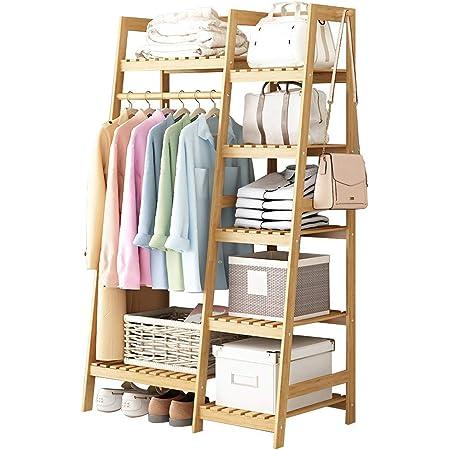 GWLGWL Porte-vêtements en Bambou, Multifonctionnel Portant Porte-Manteau avec 7 étagères et étagère à Chaussures, 1 Crochets Latérale, Capacité Max 100kg, 80x40x140cm Naturel