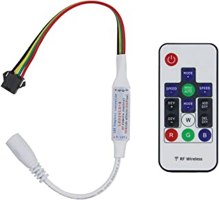 ALITOVE WS2813 WS2815 LED Controller DC 5V 12V Wireless RF Remote Dream Color Controller for WS2815 WS2813 WS2813B WS2815B CS8812 Individually Addressable RGB LED Strip Pixel Light, 4pin Connector