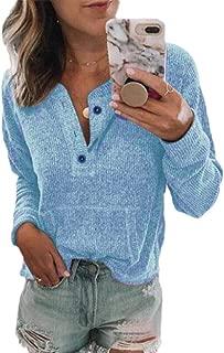 Macondoo Women Basic Long Sleeve Top Plus Size Button Tee T-Shirt