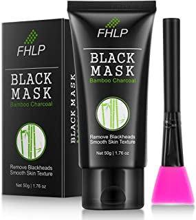 Black Facial Mask, Face Black Mask Purifying Peel Off Mask - Bamboo Charcoal Blackhead Removal Mask for Deep Pore Cleaning with Brush as Gift
