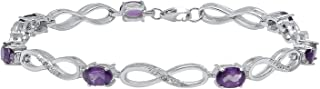 Dazzlingrock Collection 6X4 MM Each Oval Gemstone & Diamond Accents Ladies Infinity Tennis Bracelet, Sterling Silver