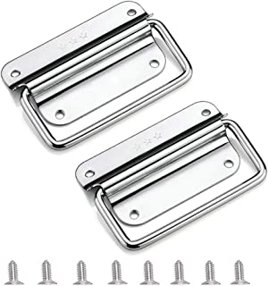 Spring Loaded Case Handle, 304 Stainless Steel Surface Mount Chest Handle for Flight Case/Cabinet/Garage/Boat (with Screws) (Pack of 2)