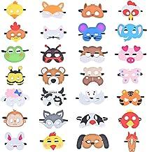 Queta Máscaras de Animal, 28 Piezas Fieltro Mascarilla Animal para niños para Cosplay Máscaras de Fiesta para Niños Fiesta de Cumpleaños (Tipo 1)