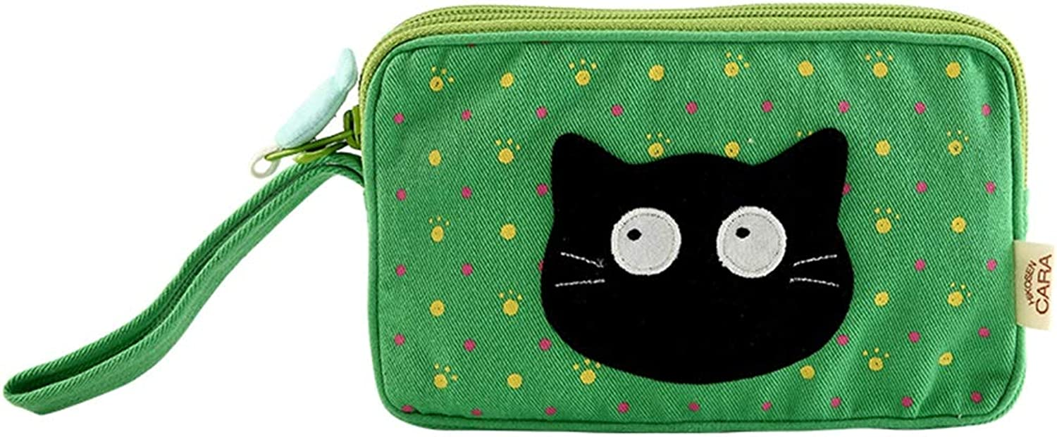 HGXC Cat Clutch Bag Canvas DoubleLayer Mobile Phone Bag Change Key Package